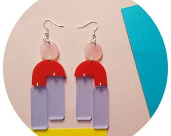 Powder blue, high shine Red Acrylic drop earrings with frosted rose detail