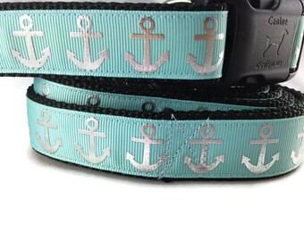 Dog Collar and Leash, Foil Anchors Aqua, 6ft leash, 1 inch wide, adjustable, plastic buckle, metal buckle, chain, martingale, quick release