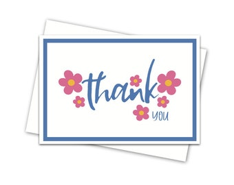 Greeting card: Thank you | Flowers | Blank inside