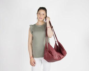 Soft leather bag - Slouchy leather bag - Convertible purse - Large woman handbag - Red handbag - DeLUNA bag