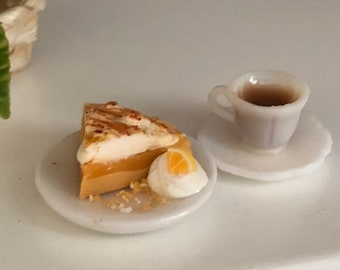 Miniature Pie & Coffee Set, Slice of Lemon Meringue Pie on Plate, Filled Coffee Cup and Saucer, Dollhouse Miniatures, 1:12 Scale, Mini Food