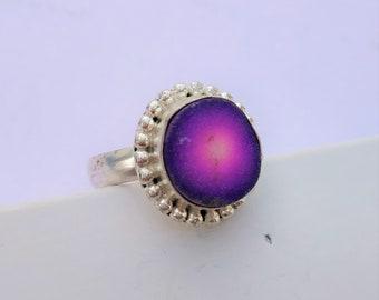 Purple Druzy Ring, Purple Druzy Silver Ring, Purple Druzy Ring Jewelry, 925 Sterling Silver Midi Ring, Handmade Ring