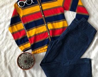 Vintage Rainbow Cardigan // Vintage Rainbow Sweater // 80s Does 70s Rainbow Cardigan
