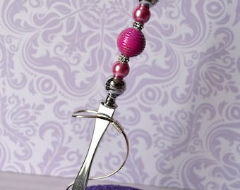 Letter opener / open - letters pink FUSCHIA / pink pearl beads - Valentine's day - mother's day - Christmas - gift idea