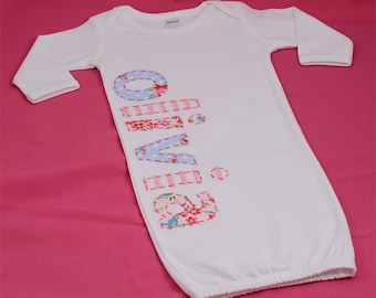 Hand Appliqued Personalized Infant Baby Girl Gown Blue and Pink Girlie