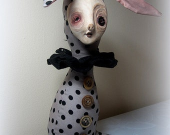 The strange rabbit art doll paper clay