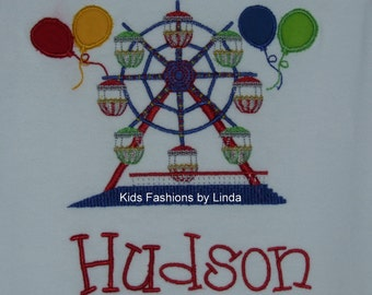 Personalized Boy Shirt  with Ferris Wheel and Balloons