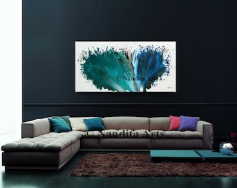 Turquoise Watercolor Painting, Blue Oil Painting, Canvas Art, Modern Art, Contemporary Art, Handmade Acrylic Painting Artwork, by Nandita