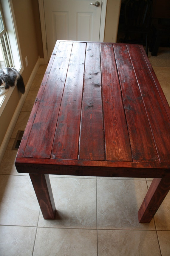 Beautiful red cabernet stained primitive kitchen table custom workwithnaturefo