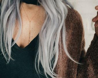 Rose gold skinny bar necklace - rose gold lariat necklace - y necklace - drop necklace - layered necklace - skinny bar necklace
