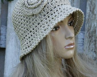 Summer Crochet Hat Hand made cloche Hat beige Cotton Floppy Hat flower Rose Spring Summer Garden Hat Women Sun Hat Hand made Brimmed Sun