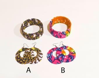 African Prints Ankara Set of Hoops Earrings and Bangle