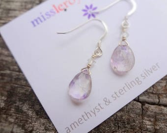 Natural Lavendar Amethyst Briolette Sterling Silver Earrings, Purple Gemstone Earrings by Miss Leroy