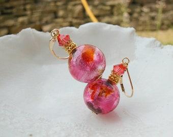 Exclusive Murano Glass Earrings, Italian Glass Jewelry