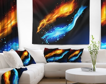 Designart Fire and Water Contemporary Wall Tapestry, Wall Art Fit for Wall Hanging, Dorm, Home Decor