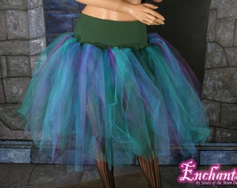 Peacock tutu tulle skirt Streamer knee length adult dance party halloween cosplay costume purple black blue green - You Choose Size - SOTMD