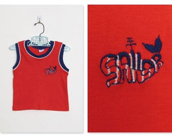 Kid's Carter's Tank Top / Red, White and Blue Sleeveless Sailor Shirt w/ Embroidered Whale / Vintage 70s Children's Top / Size 3T