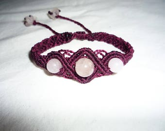 purple macrame bracelet with quartz beads