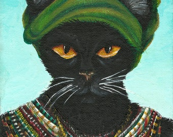 Black Cat Art, Cat in Native African Tribal Beaded Jewelry and Turban 8x10 Art Print