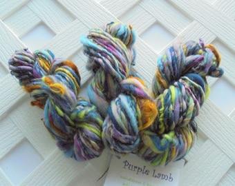 SUNKEN TREASURE Thick and Thin Worsted-Weight Mini Skein, Handspun Mini, Teeswater Locks, Soft Artisan Yarn, Art Yarn, Knitting Yarn, Weave