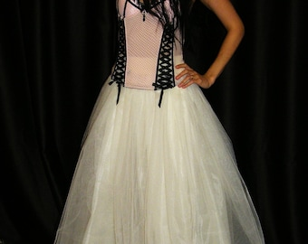 Ivory Maxi Tulle Tutu Skirt Elastic Waist Long Tulle Skirt, Creamy Tulle Tutu