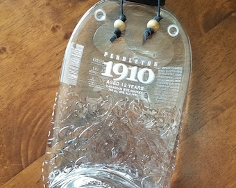Slumped Melted Flat Recycled Pendleton 1910 Liquor Bottle with black suede and wood beads