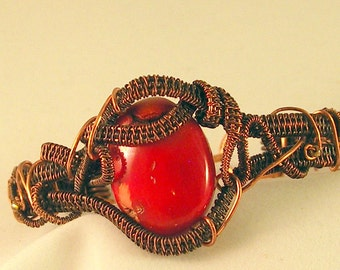 Free Form Wire Woven Bracelet Cuff with Red Coral Bead