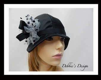 Women's Handmade Cloche Hat-47 Black, Women, Handmade, Cloche,Women's Handmade Cloche Hat,  Embellished, accessories, Spring, Cloche Hat