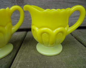 Vintage Opaque Yellow Glass Creamer and Sugar Set
