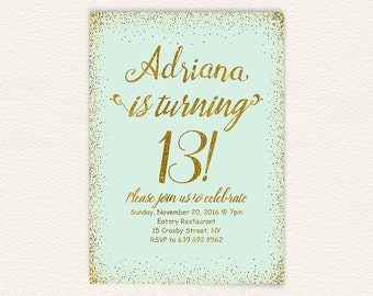 13th birthday, birthday invitation, birthday party, teen birthday, 13th birthday invite,gold glitter invite, gold glitter, birthday invite 1