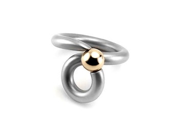 Unique Tension Set Ring Swirl Stainless Steel N Gold