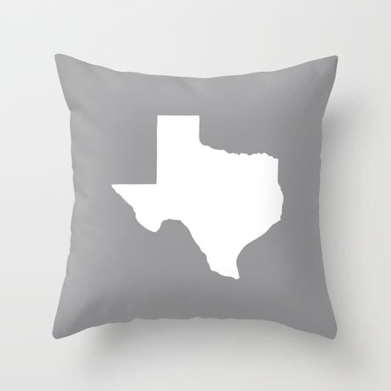 Texas Throw Pillow . Grey Pillow . Texas Cushion . Gray Texas Pillow . Texas Pillow . Texas State . Grey Cushion Texas Gift 14 16 18 20 inch