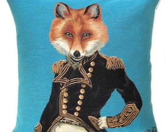 jacquard woven belgian tapestry cushion fox with military costume by Fabfunky