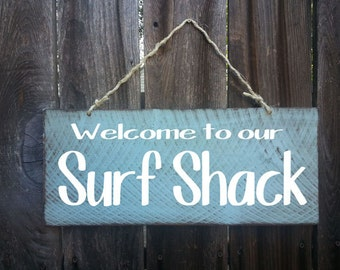 Beach decor, Welcome to our Surf Shack Sign, Beach Decor, Beach Sign, Surf Decor, beach cottage, Welcome Sign, Front Door Decor