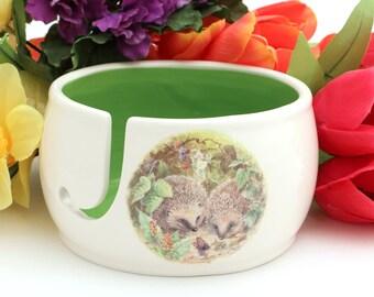 Yarn bowl, Hedgehog yarn bowl. handmade ceramic yarn bowl, gift for people who knit or crochet, wool bowl, personalized
