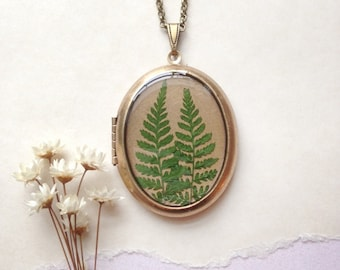 Two Ferns Locket - Botanical Forest Necklace - Real Green Ferns from Vermont Woodland