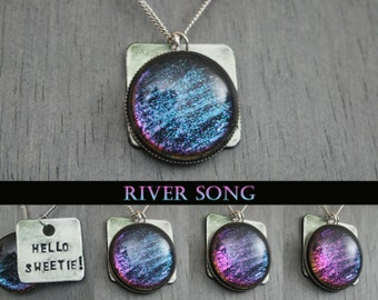 """River Song -Doctor Who Inspired """"Hello Sweetie"""" Hand Stamped Color Shifting Necklace - Stainless Steel and Aluminum"""