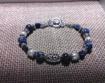 Blue, Pearl and silver beaded bracelet; handmade; toggle clasp