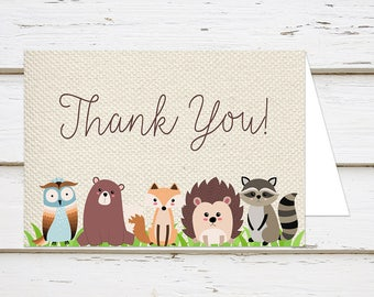 Printable Baby Shower Thank You Card Woodland Animal Thanks For Coming Digital DIY Print At Home Burlap MB200