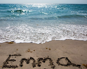 Name in Sand, Baby Girl Gift, Personalized Artwork, Beach, Nursery Decor - Emma