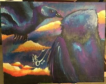 "Original 16x20in Acrylic Painting on Canvas - ""Corvidae"""