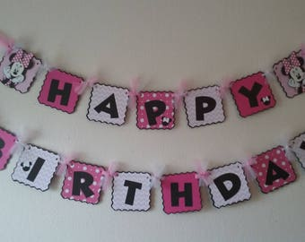 Minnie Mouse Birthday Banner- Minnie Mouse Birthday- Minnie Mouse Happy Birthday Banner