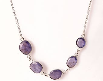 Tanzanite 92.5 sterling silver necklace