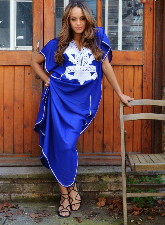Spring Blue with White Marrakech Resort Caftan Kaftan -beach cover ups, maxi, birthdays, honeymoon,maternity gifts, spring dress
