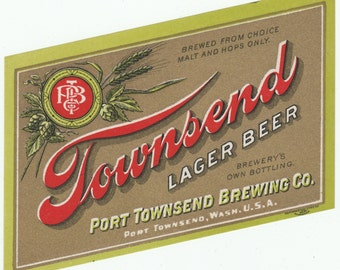 Townsend Lager Beer Label Pre - Prohibition Port Townsend Brewing Co. Port Townsend, Washington