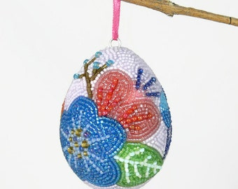Easter Egg Ornament Beaded Floral Easter Decoration One Of A Kind Spring Egg Tree Decor *READY TO SHIP