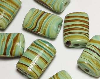 6pcs Handmade Green Swirl Lampwork Beads - Chunky Rectangle Beads - Artisan Beads - Boho Beads - Focal Beads - 20x14mm - G16