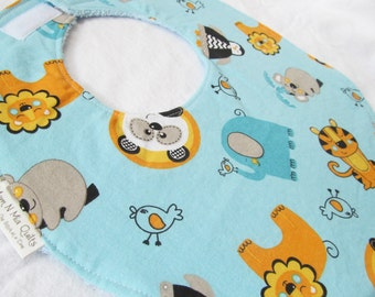 Baby Boy or Girl  Bib - Safari Friends - Boutique Bib in Designer Cotton Fabric
