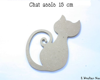 """Blank """"Sitting cat"""" GOMILLE 15cm wooden stand"""