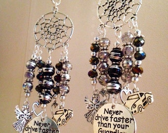 Handmade Dreamcatcher Guardian Angel hanging car mirror charm or keyring - Never drive faster than your Guardian Angel can fly